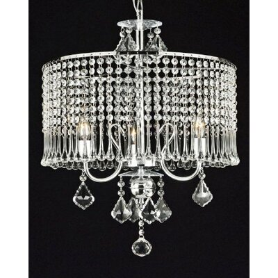 Brookline 3-Light Crystal Chandelier Plug-In Kit: No