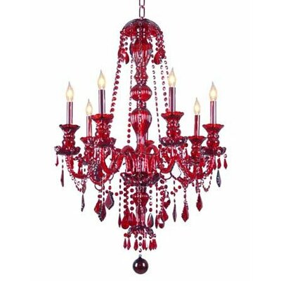 Meredith 7-Light Crystal Chandelier Finish: Red