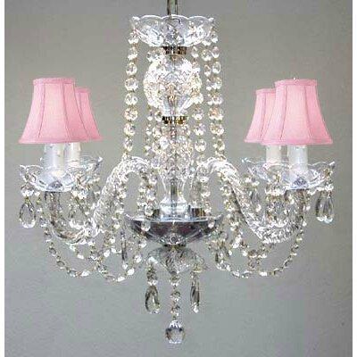 4-Light Crystal Chandelier Shade Color: Pink