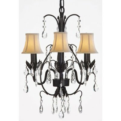 Clemence 3-Light White/Black Crystal Chandelier