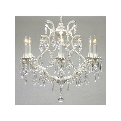 Alvarado 6-Light White Crystal Chandelier