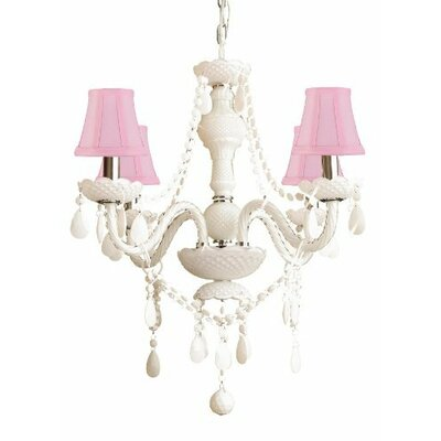 Royal 4-Light Shaded Chandelier Shade Color: Pink