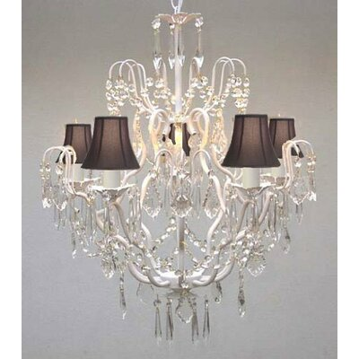 Clemence 5-Light 40W Fabric Shade Crystal Chandelier Shade Color: Black