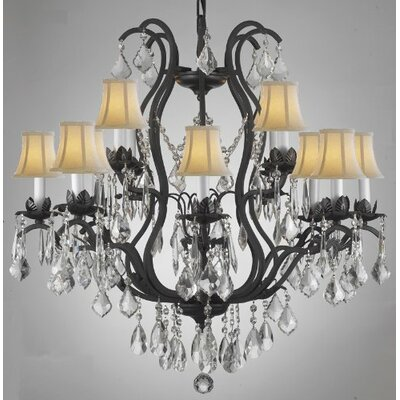 Clemence 12-Light Shaded Chandelier Shade Color: White