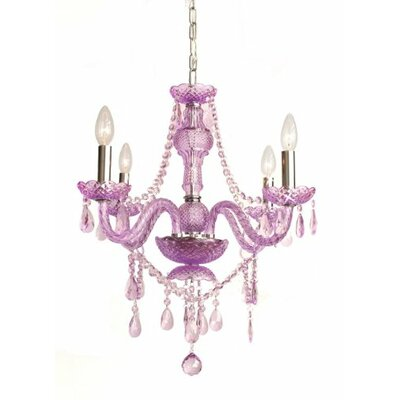 Royal 4-Light Crystal Chandelier Crystal Color: Purple, Plug-In Kit: No