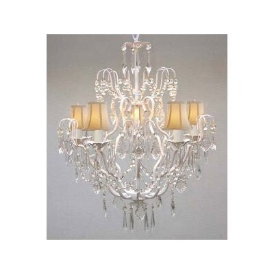 Clemence 5-Light 40W Fabric Shade Crystal Chandelier Shade Color: White