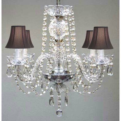 4 Light Crystal Chandelier Shade Color: White image