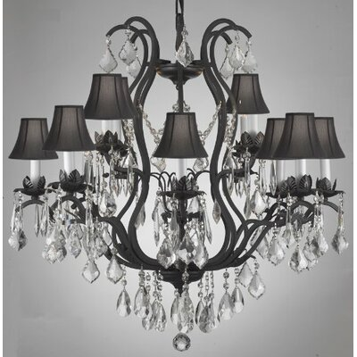 Clemence 12-Light Shaded Chandelier Shade Color: Black