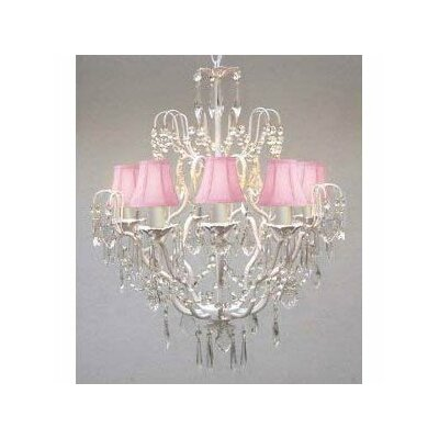 Clemence 5-Light 40W Fabric Shade Crystal Chandelier Shade Color: Pink