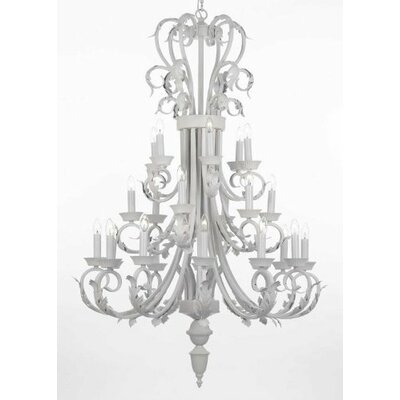 Alvan 24-Light White Candle-Style Chandelier