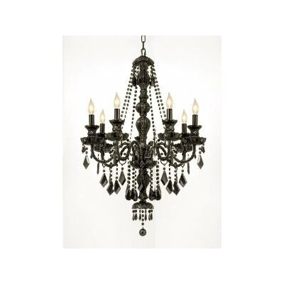 Royal 7-Light Crystal Chandelier Finish: Black