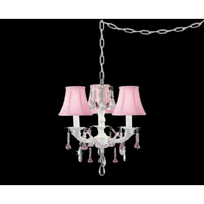 Clemence 3-Light Pink Shade Crystal Chandelier