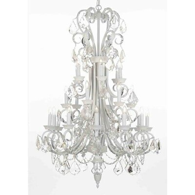 Alvan 24-Light White Crystal Chandelier