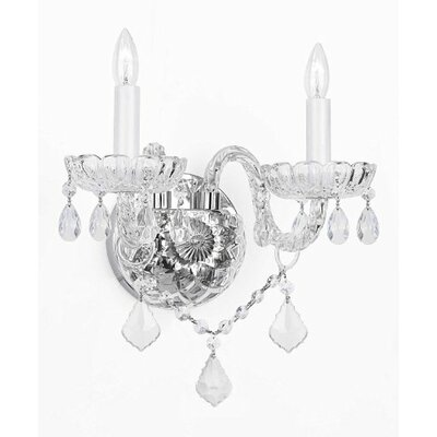 Murano Venetian Style Crystal 2-Light Candle Sconce