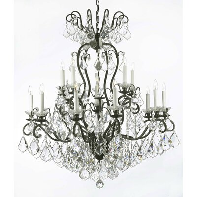 Alvan 16-Light Traditional Black Crystal Chandelier