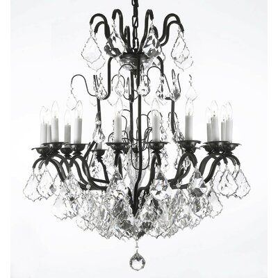Alvarado 16-Light Traditional Black Crystal Chandelier