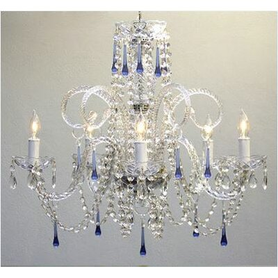 5 Light Crystal Chandelier Crystal Color: Blue image