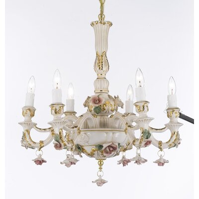 Authentic Capodimonte 6-Light Candle-Style Chandelier