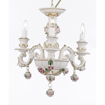 Authentic Capodimonte 3-Light Candle-Style Chandelier