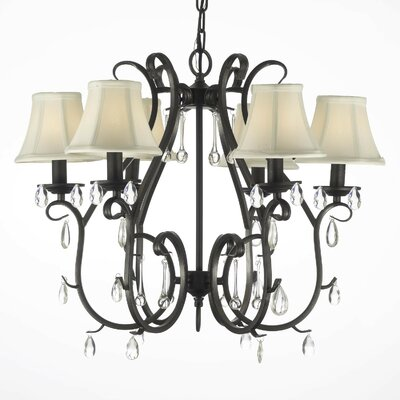 Alvan 6-Light Black/White Shaded Chandelier Plug-In Kit: No