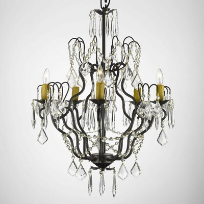 Clemence 5-Light Crystal Chandelier Feature: Plug-in Kit Not Included