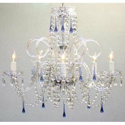 Swarovski 5-Light Crystal Chandelier Crystal: Blue