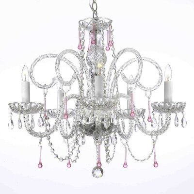 Swarovski 5-Light Crystal Chandelier Crystal: Pink