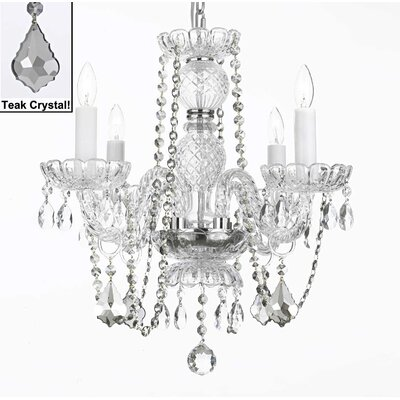 4-Light Crystal Chandelier Crystal: Teak
