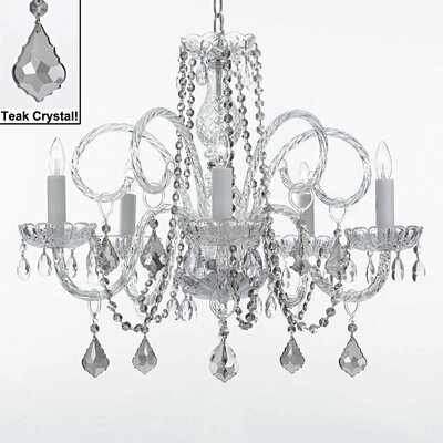 Kaminski 5-Light Crystal Chandelier Crystal: Teak
