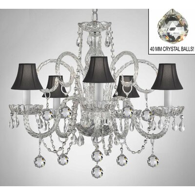 Royal 5-Light Crystal Chandelier Shade Color: Black