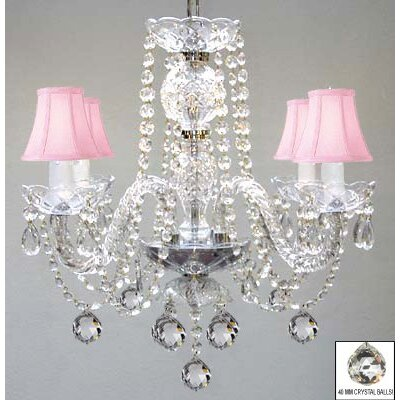 4-Light Crystal Chandelier Shade Color: Pink