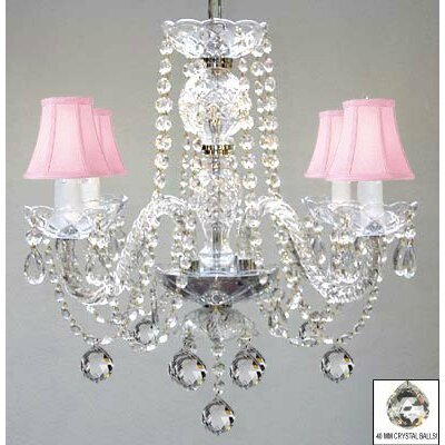 Kallas Swarovski 4-Light Crystal Chandelier Shade Color: Pink