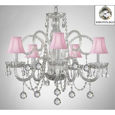 Royal 5-Light Crystal Chandelier Shade Color: Pink