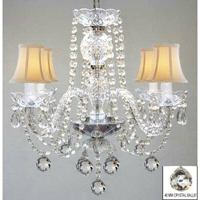 Kalish 4-Light Crystal Chandelier Shade Color: White