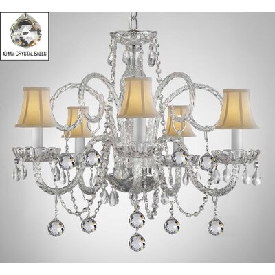 Meredith 5-Light Crystal Chandelier Shade Color: White