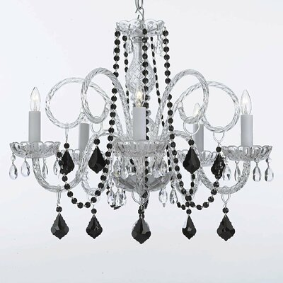 Kaminski 5-Light Crystal Chandelier Crystal: Black