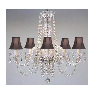 Kawamura Swarovski 5-Light Shaded Chandelier Shade Color: Black