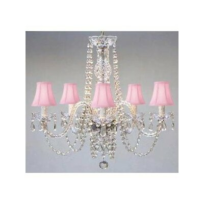 Kayser Swarovski 5-Light Shaded Chandelier Shade Color: Pink