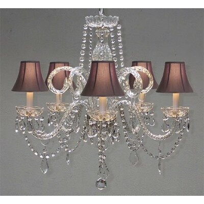 Swarovski 5-Light Crystal Chandelier Shade Color: Black
