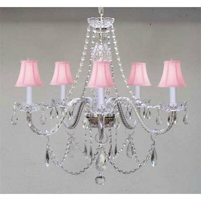 Meredith 5-Light Crystal Chandelier Shade Color: Pink