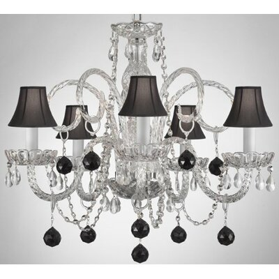5-Light Crystal Chandelier Shade Color: Black