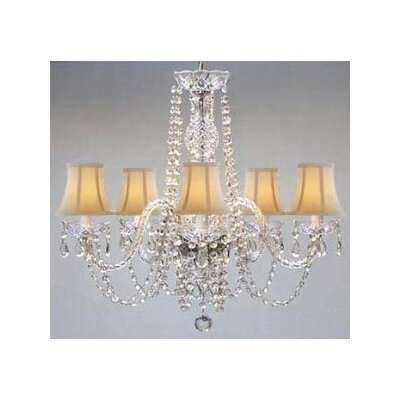 Meredith 5-Light Shaded Chandelier Shade Color: White