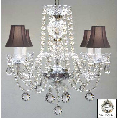 Kalish 4-Light Crystal Chandelier Shade Color: Black
