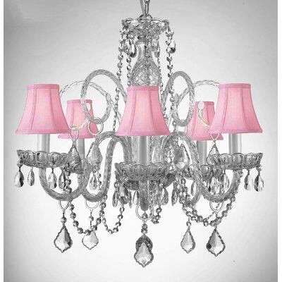 Kamen Swarovski 5-Light Crystal Chandelier Shade Color: Pink