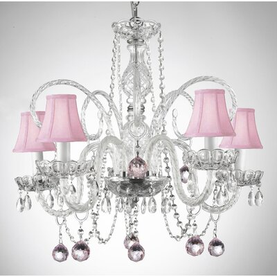 5-Light Crystal Chandelier Shade Color: Pink