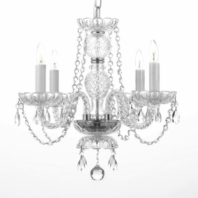 Meredith Traditional 4-Light Crystal Chandelier Feature: Plug-in Kit Not Included