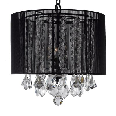 Cortland 3-Light Drum Chandelier Shade Color: Black