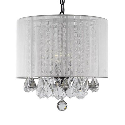 Cortland 3-Light Drum Chandelier Shade Color: White