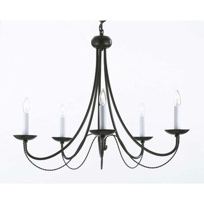 Bowey 5-Light Candle-Style Black Chandelier