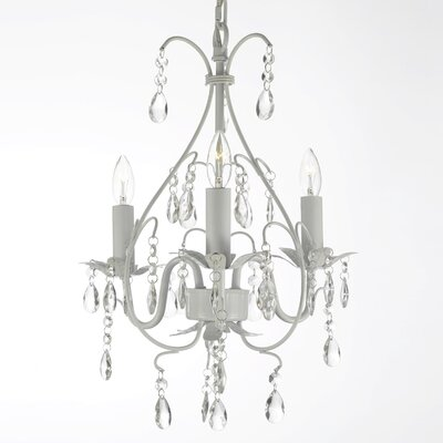 Clemence 3-Light Clear/Black Crystal Chandelier Finish: White